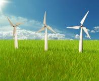 Ilustrador do moinho de vento no céu Fotografia de Stock Royalty Free