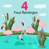Ilustrador do número quatro com flamingos ilustração stock