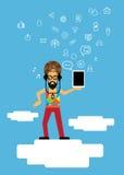 Ilustrador do vetor do homem da tecnologia dos meios Foto de Stock Royalty Free