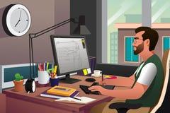 Ilustrador que trabalha na frente do computador Fotografia de Stock Royalty Free