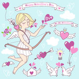 Ilustrações bonitos do vetor do dia de Valentim, ícones ajustados Imagens de Stock