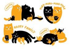 Ilustrações com a família dos gatos Fotografia de Stock Royalty Free