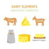 Ilustrações da leiteria do vetor Ilustração dos desenhos animados da vaca e da cabra Projeto dos ícones do leite e do queijo Cole Fotografia de Stock Royalty Free