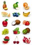 Ilustrações das frutas e das bagas Foto de Stock Royalty Free