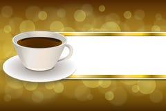 Ilustração abstrata do quadro da fita do ouro do marrom do copo de café do fundo Fotos de Stock Royalty Free