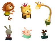 Ilustração: Amigos animais felizes pequenos Fotos de Stock