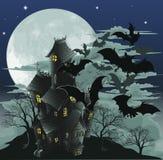 Ilustração assombrada da casa e dos bastões Imagem de Stock