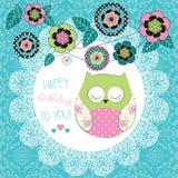 Ilustração bonito da coruja do feliz aniversario Foto de Stock Royalty Free