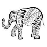 Ilustração branca do teste padrão do preto abstrato do elefante Imagem de Stock Royalty Free