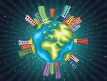 Ilustração colorida do vetor da noite do mundo Foto de Stock