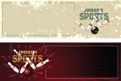 Ilustração conservada em estoque do vetor Cartão relativos à promoção do molde Esportes internos bowling Fotos de Stock