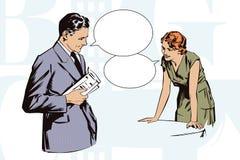 Ilustração conservada em estoque Povos no pop art retro do estilo e na propaganda do vintage Cafés do cliente que falam com a emp Imagem de Stock
