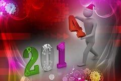 ilustração 3d do homem de negócios que apresenta o ano novo 2014 Fotografia de Stock