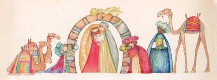 Ilustração da cena de Christian Christmas Nativity com os três homens sábios Fotografia de Stock Royalty Free