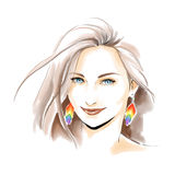 Ilustração da forma da aquarela com menina bonita Imagem de Stock