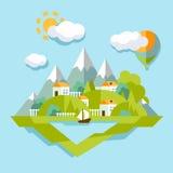 Ilustração da paisagem da natureza Colorido, vetor Fotografia de Stock Royalty Free