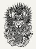 Ilustração da pena e da tinta da raposa indiana que guarda o calendário maia Fotos de Stock