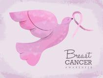 Ilustração da pomba do rosa para a conscientização do câncer da mama Fotografia de Stock Royalty Free