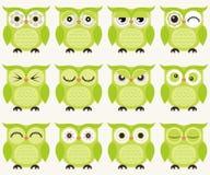Ilustração das corujas dos desenhos animados Fotos de Stock Royalty Free