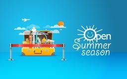 Ilustração das férias do beira-mar do verão Vetor Fotografia de Stock Royalty Free