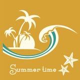 Ilustração das horas de verão com onda do mar e as palmeiras tropicais Imagem de Stock