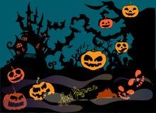Ilustração de Dia das Bruxas Imagem com o castelo e as abóboras Boas festas Foto de Stock