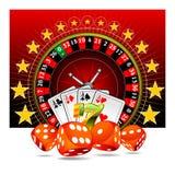 Ilustração de jogo com elementos do casino Imagens de Stock