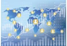 Ilustração de troca social - cartas do mercado de valores de ação Foto de Stock Royalty Free