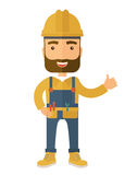 Ilustração de um capacete de segurança vestindo e de uns macacões do carpinteiro feliz Imagem de Stock Royalty Free
