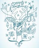 Ilustração de um cervo do Natal Fotos de Stock Royalty Free