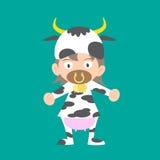 Ilustração do bebê em um traje do vestido de fantasia da vaca Fotografia de Stock