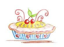 Ilustração do bolo delicioso com cerejas Fotos de Stock