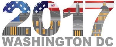 Ilustração 2017 do esboço do Washington DC da bandeira de América Foto de Stock