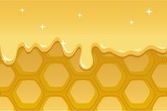 Ilustração do favo de mel para o fundo com fluxo do mel Fotografia de Stock