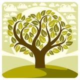 Ilustração do gráfico de vetor da arte da árvore estilizado da mola Imagens de Stock