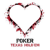 Ilustração do holdem de texas do pôquer com efeito do grunge Imagens de Stock