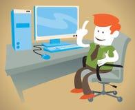 O indivíduo incorporado trabalha em seu computador Fotos de Stock Royalty Free