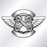 Ilustração do logotipo do motociclista do vetor Pistão do clube do motor Imagem de Stock Royalty Free