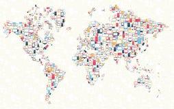 Ilustração do mapa de mundo dos ícones dos dispositivos Imagem de Stock Royalty Free