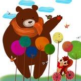 A ilustração do mundo da imaginação das crianças: Amigo de Big Bear Fotos de Stock Royalty Free
