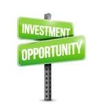 Ilustração do sinal de estrada da oportunidade de investimento Imagem de Stock