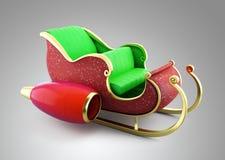 Ilustração do trenó 3D de Santa Imagens de Stock Royalty Free
