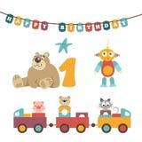 Ilustração do vetor - brinquedos do bebê, festão Imagens de Stock Royalty Free