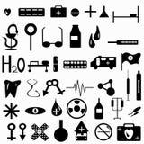 Ilustração do vetor da coleção dos símbolos da medicina Imagens de Stock