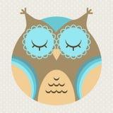 Ilustração do vetor da coruja bonito dos desenhos animados Fotografia de Stock