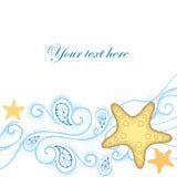 A ilustração do vetor da estrela do mar pontilhada ou o mar protagonizam em linhas encaracolado alaranjadas e azuis no fundo bran Fotografia de Stock