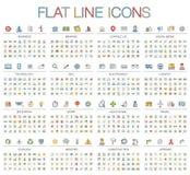 Ilustração do vetor da linha fina ícones da cor Fotografia de Stock Royalty Free