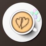 Ilustração do vetor da opinião superior de copo de café Fotografia de Stock