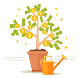 Ilustração do vetor da árvore do dinheiro Folhas do dólar e moeda dourada franco Imagem de Stock