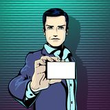 A ilustração do vetor de mostras bem sucedidas do homem de negócios visita o cartão no estilo da banda desenhada do pop art do vi Imagens de Stock Royalty Free
